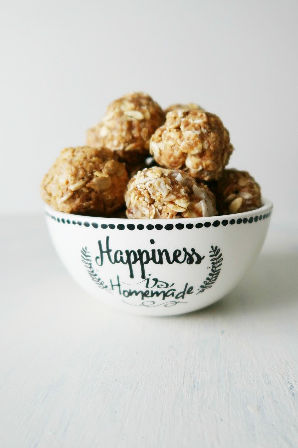 Healthy energy balls in a bowl.