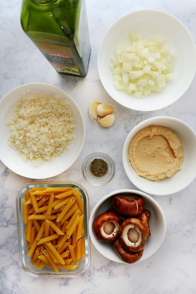 Ingredients for mushroom pasta with hummus.