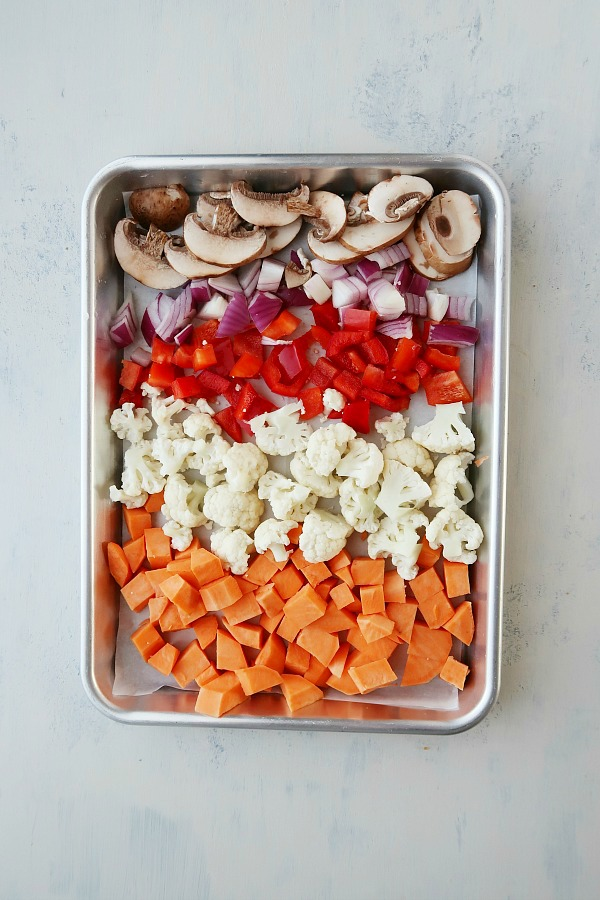 Vegetables on a pan.