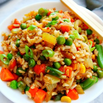 Vegan fried rice in a bowl.