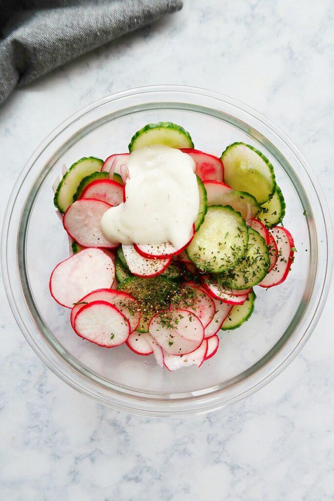 Ingredients for vegan creamy radish salad.