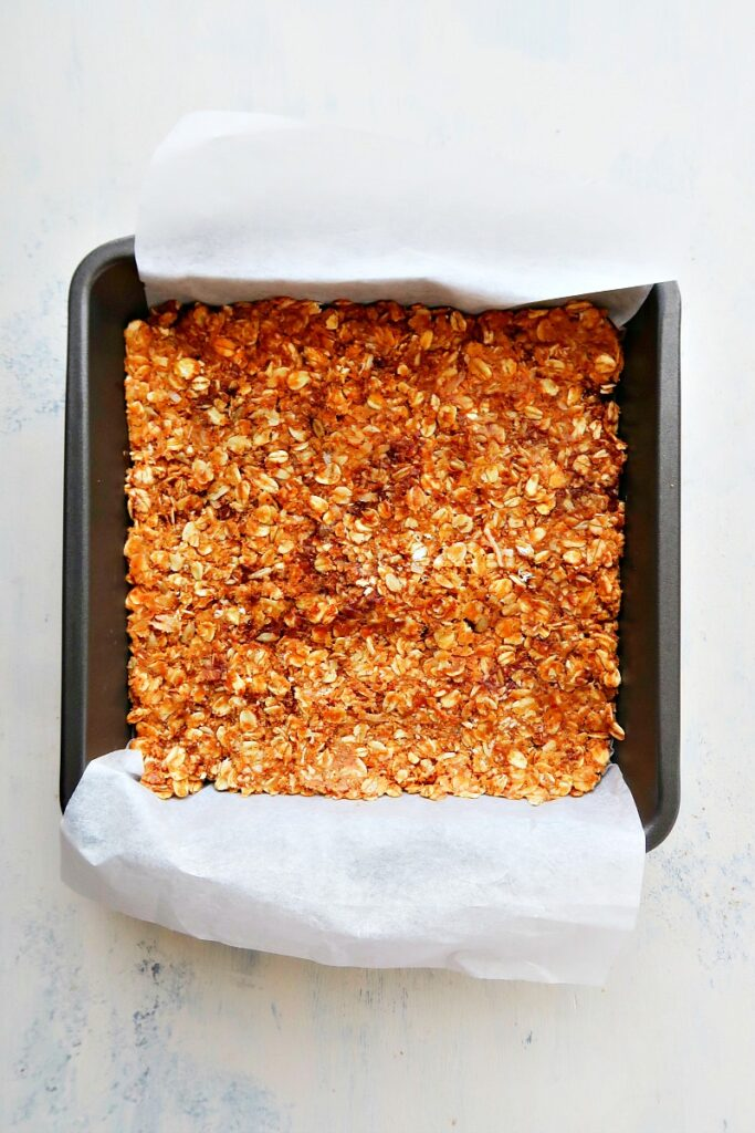 Granola bars in a pan.