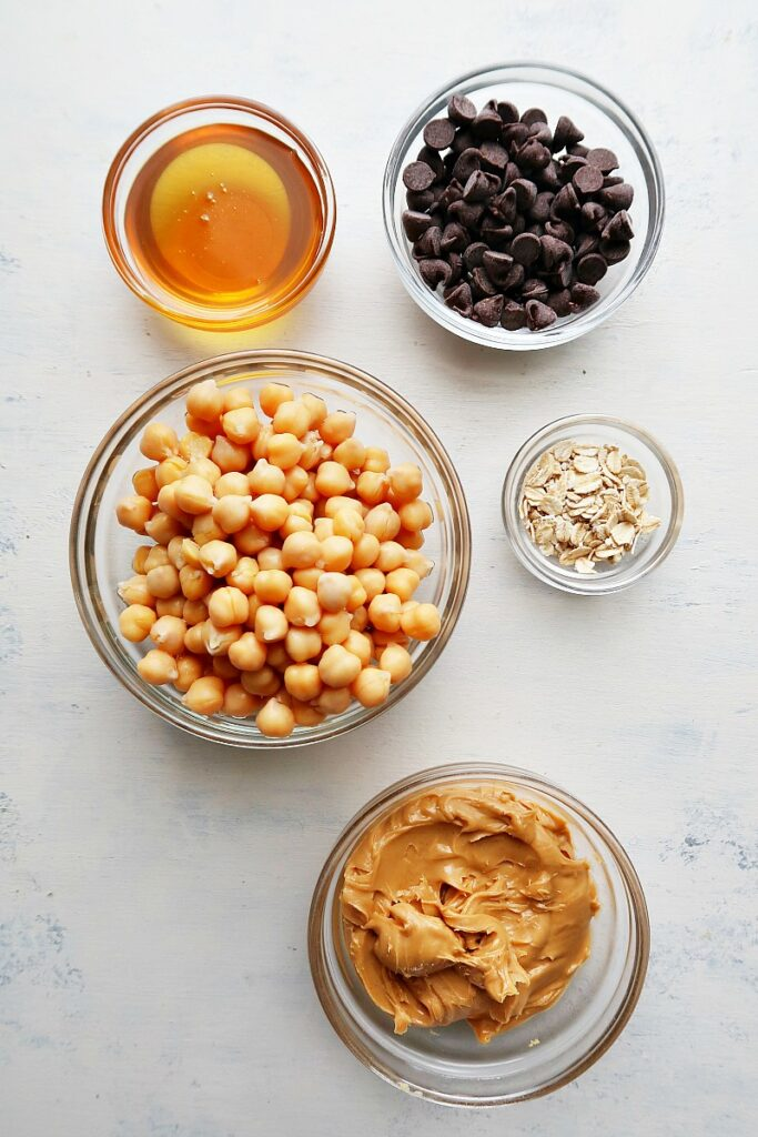 Ingredients for vegan edible cookie dough on a board.