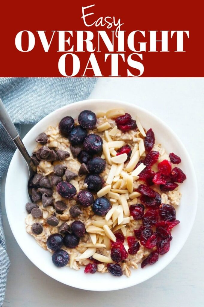 Pinterest photo collage for easy overnight oats.
