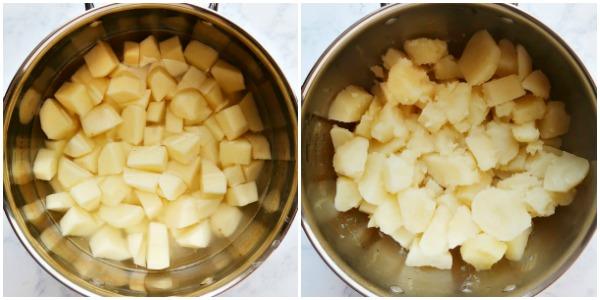 Making vegan mashed potatoes in a pot.