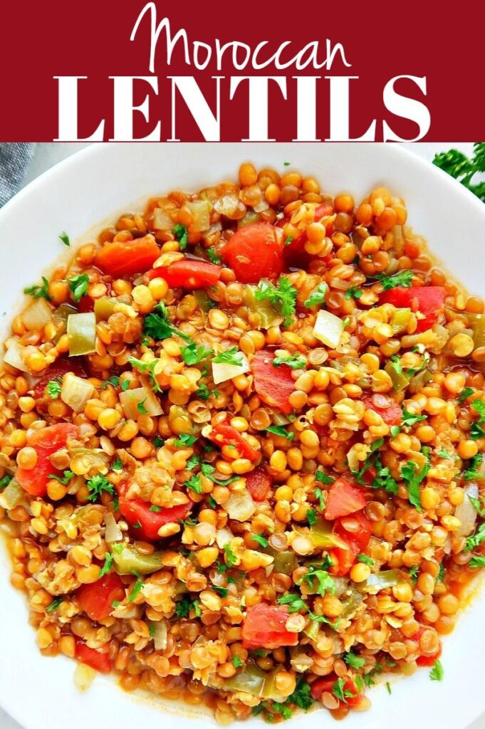 Pinterest photo collage for Moroccan lentils.