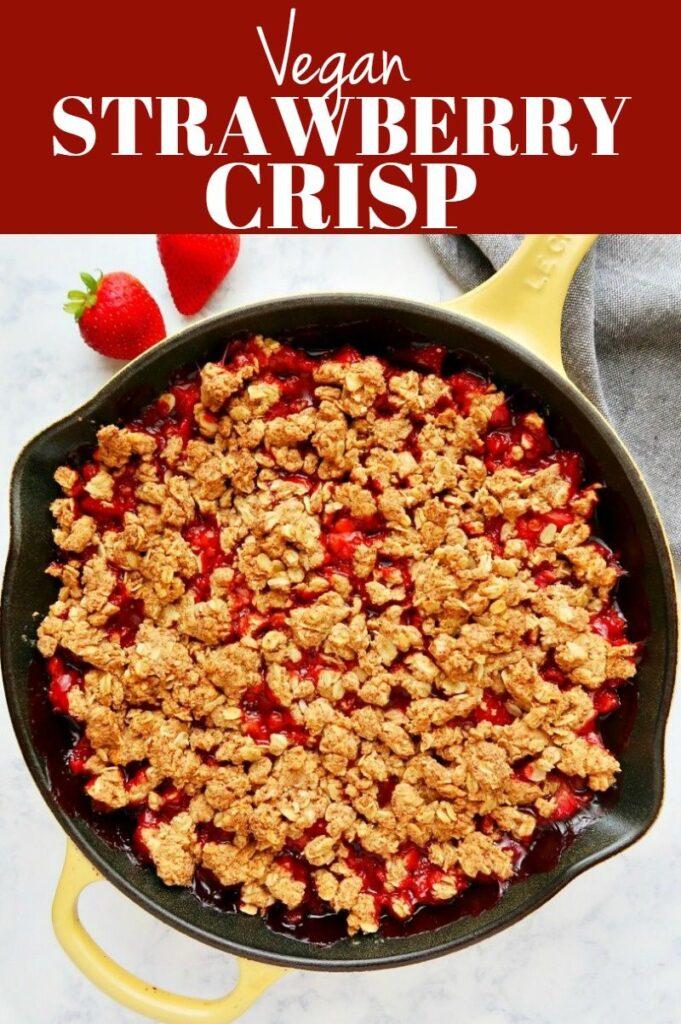 Pinterest photo collage for vegan strawberry crisp.