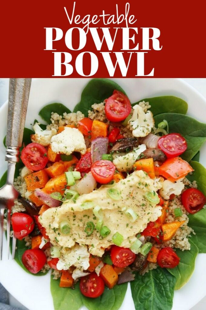 Pinterest photo collage for vegetable power bowl.
