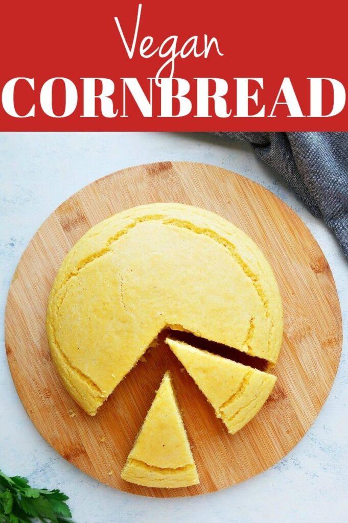 Collage for vegan cornbread.