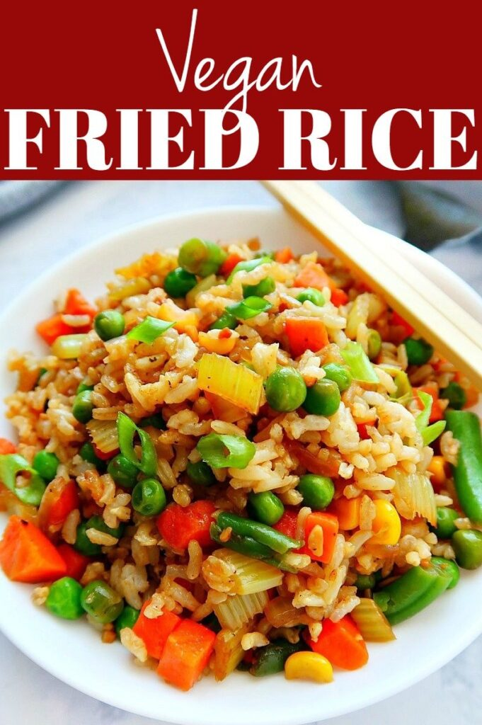 Pinterest photo collage for vegan fried rice.