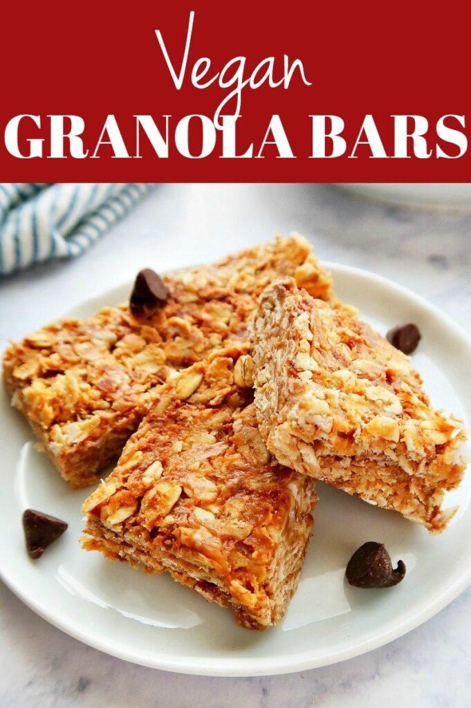 Pinterest photo collage for vegan granola bars.