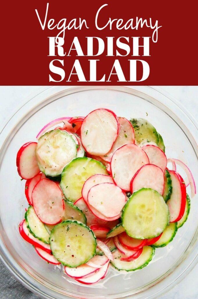 Pinterest photo collage for vegan creamy radish salad.