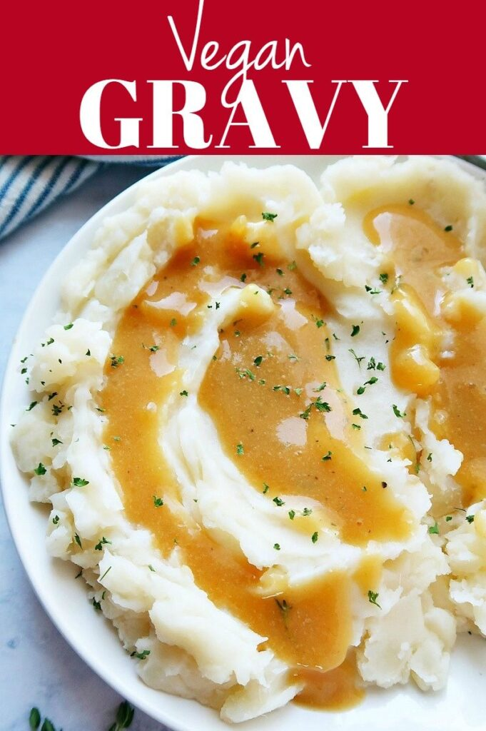 Pinterest photo collage for vegan gravy.