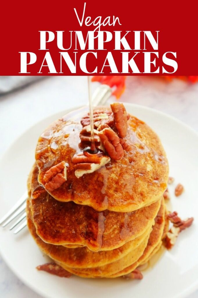 Pinterest photo collage for vegan pumpkin pancakes.