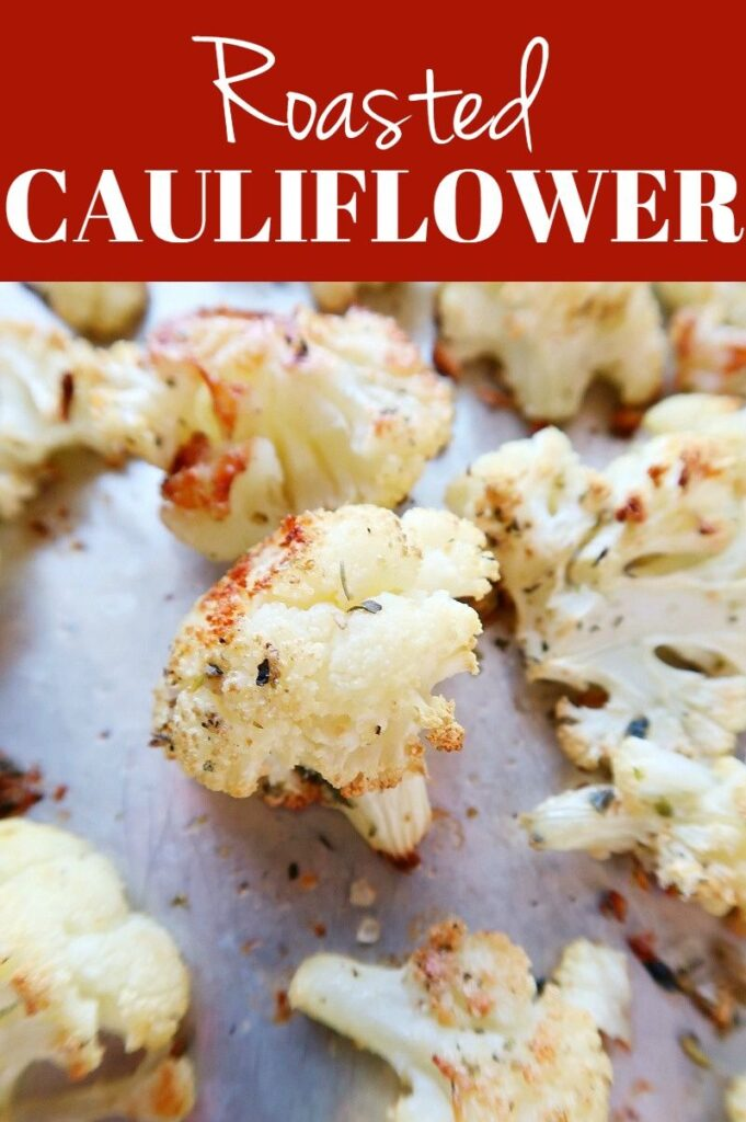 Pinterest photo collage for roasted cauliflower.