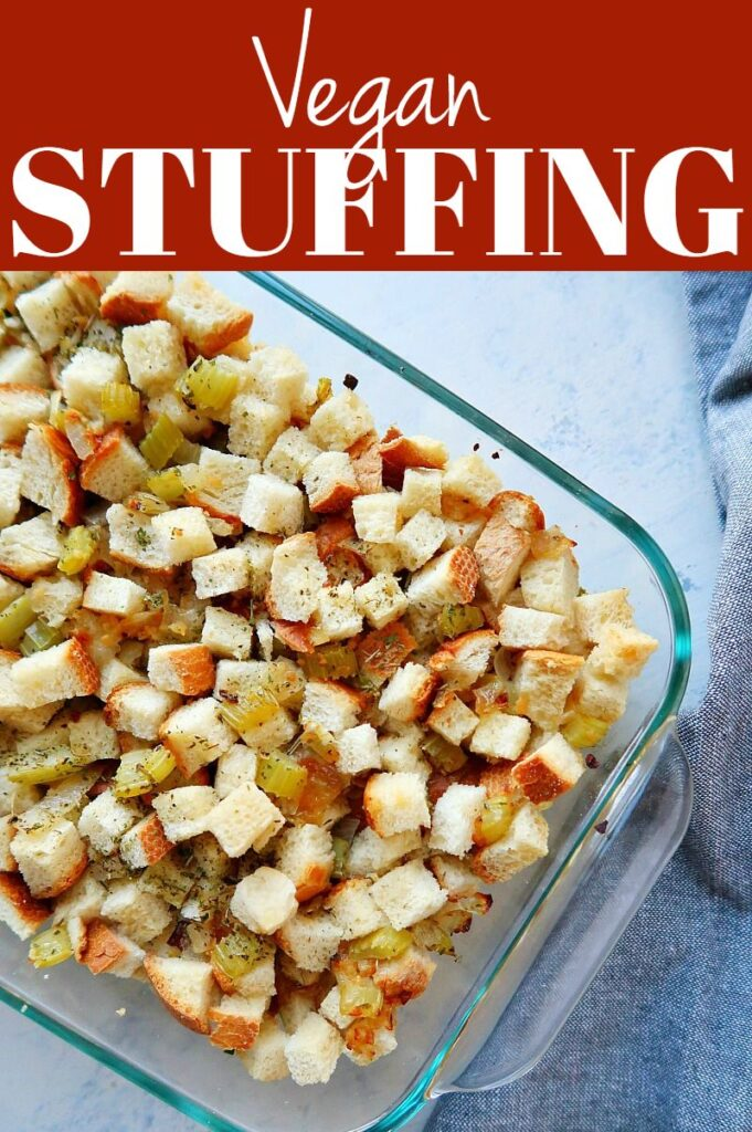 Pinterest photo collage for vegan stuffing.
