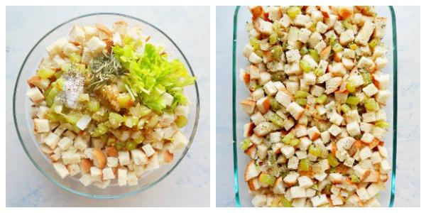 Vegan stuffing ingredients in a bowl.