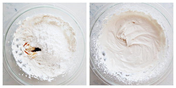 Mixing ingredients for coconut whipped cream in a bowl.