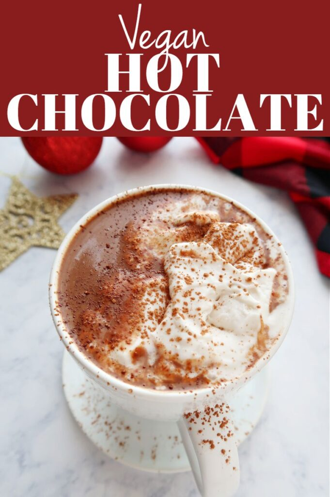 Pinterest photo collage for vegan hot chocolate.