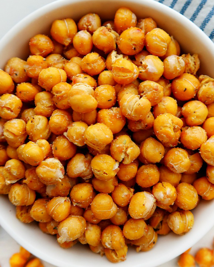 Air fryer roasted chickpea snack.