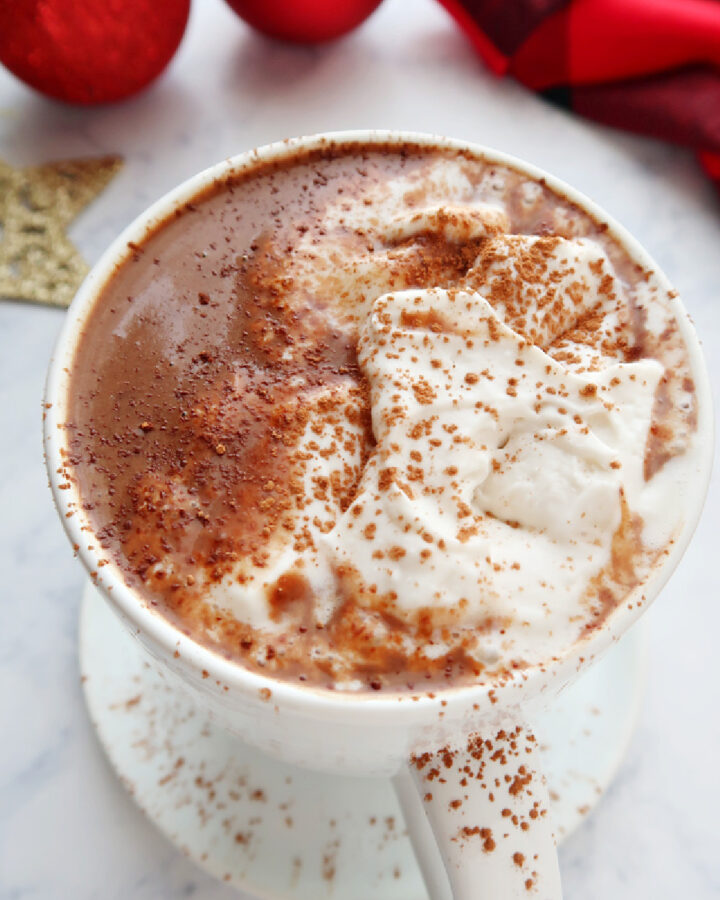 Vegan hot chocolate topped with whipped cream.